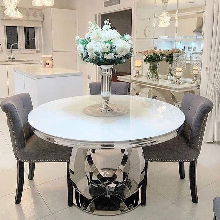 Pin By Alma Téllez On Dining Room Glass Dining Table Decor Glass Round Dining Table Round Marble Dining Table