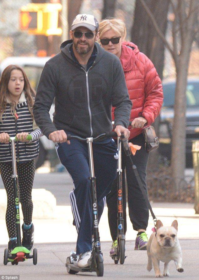Hugh Jackman Zooms Down Street On Scooter As Wife And Daughter Follow Hugh Jackman Jackman Wolverine Hugh Jackman