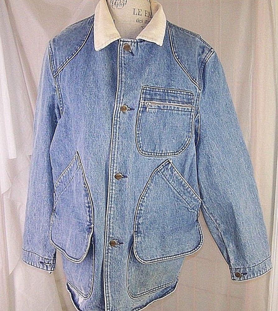 L L Bean Vintage Blue Jean Barn Coat Jacket Men S Large Corduroy Collar Llbean Barnjacket Denim Jacket Men Work Jackets Fashion [ 1000 x 893 Pixel ]