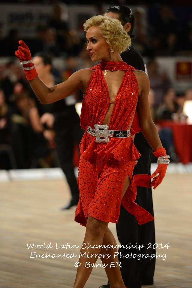 Red week: effective red latin dress (Nino Langella and Kristina Moshenskaya, World Latin Championship 2014)
