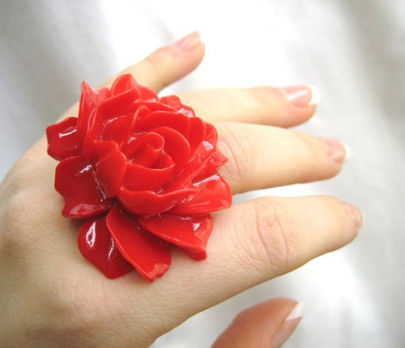 Hello Valentine! Red Rose Valentines Day Jewelry Ring. $18.95