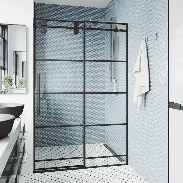 Vigo 52 56 Inch Grid Elan Adjustable Sliding Shower Door In Matte