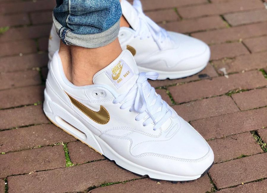 size 40 77a20 bd683 Nike Air Max 1 90 OG  White Metallic Gold   airmax90  nike  sneakers   baskets