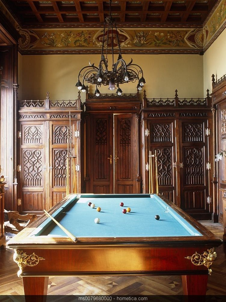 Wood Paneled Game Room: Traditional Mediterranean Game Pool Table Room With Wood