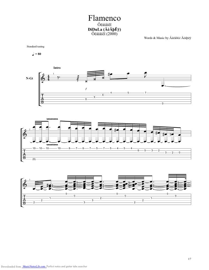 Flamenco Guitar Pro Tab By Didula Musicnoteslib Acoustic Tab