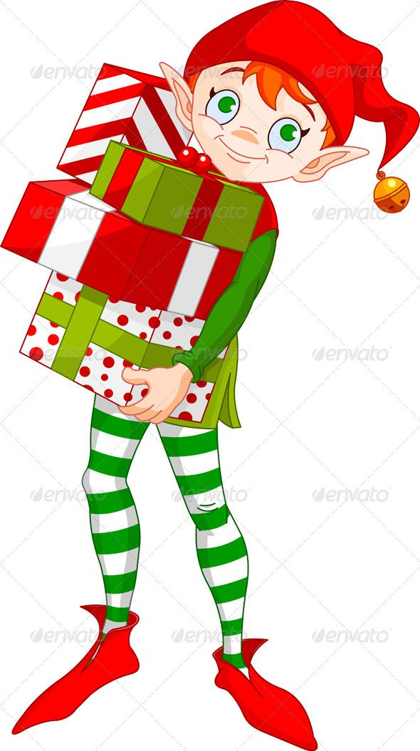 christmas elf with gifts christmas items elves and gift rh pinterest co uk Cute Christmas Elves Clip Art free christmas elf clipart images