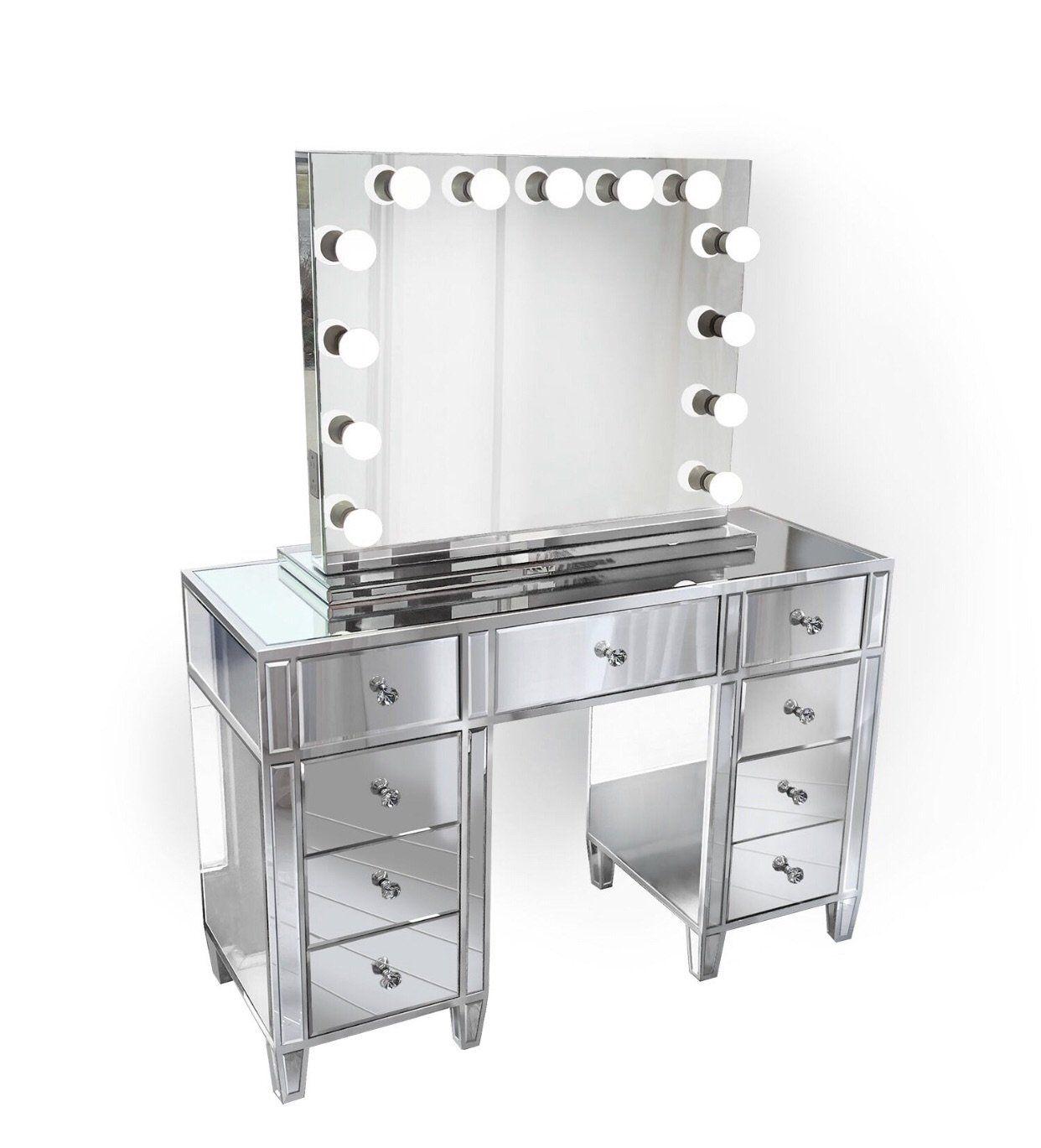 Deposit On Light Mirrored Vanity Table Vanity Set With Mirror