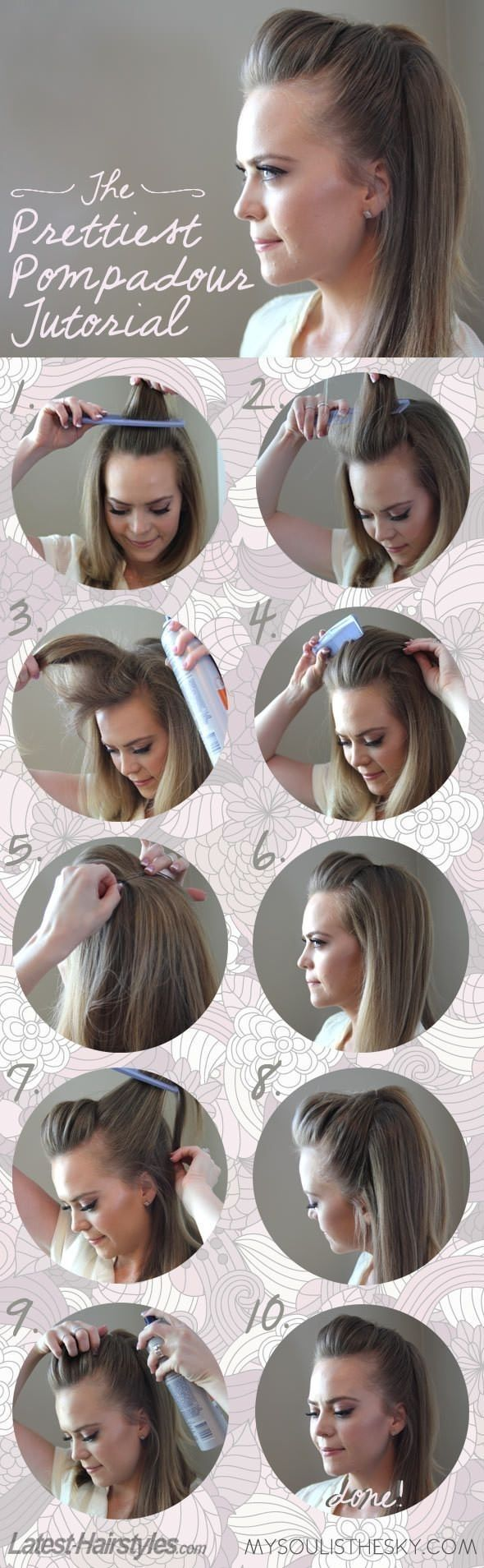 The easiest prettiest pompadour updo woman hairstyles and easy updo