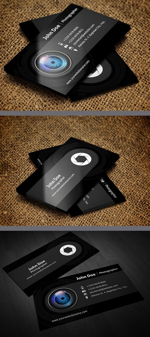 Photographer Business Card Template | Tarjetas de Presentacion ...