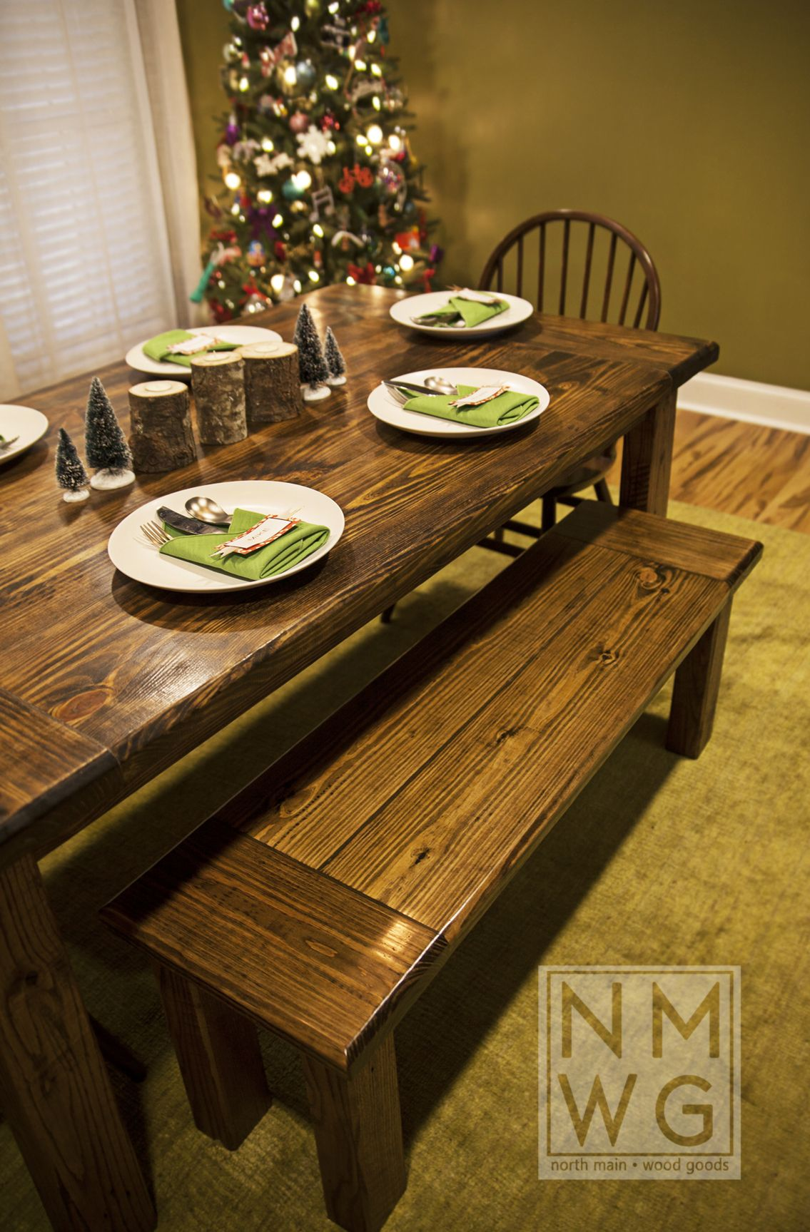 This Is A Pine Farmhouse Table Stained With Minwax Dark Walnut Stain The 3 Feet Wide And 5 Long Two Benches That Fit Directly