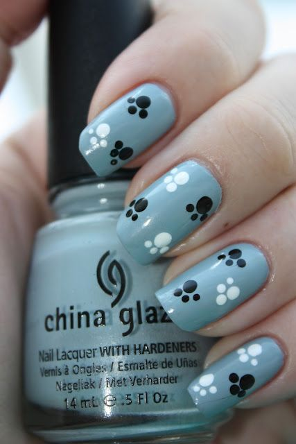 Paw nails (stick a nail into the end of an eraser to do dots like this) - Puppy Paw Print Nail Decals By PineGalaxy On Etsy, $4.50 Nails