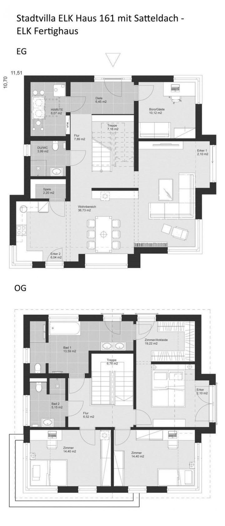 Grundriss Einfamilienhaus im Landhausstil mit Satteldach