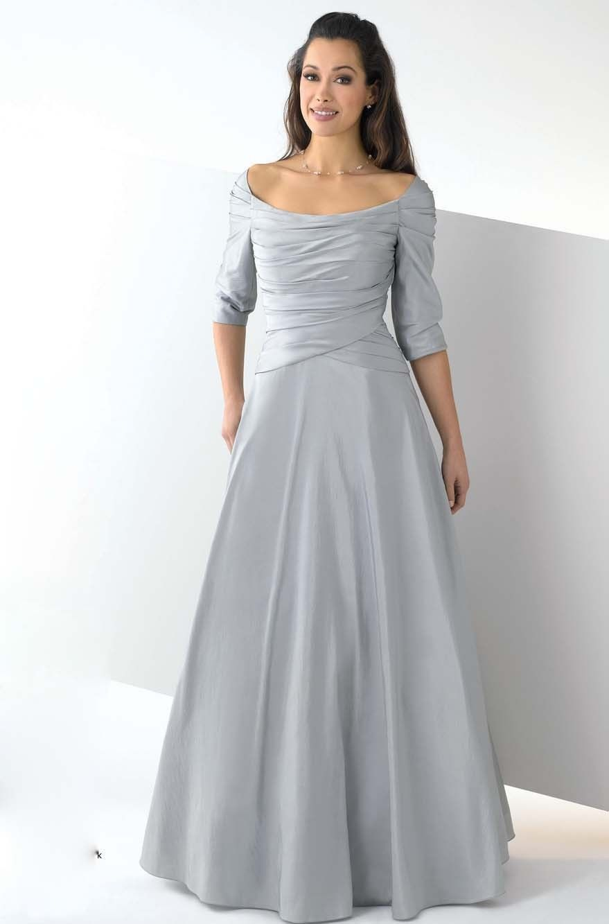Silver bridesmaid dresses with sleeves silver for Silver tea length wedding dresses