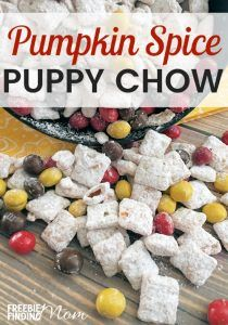 Need an easy, fun fall snack idea that everyone is sure to love? Try this fall inspired spin on a popular recipe by whipping up a batch of Pumpkin Spice Puppy Chow. Simply use pumpkin spice melting chocolates and sprinkle in fall colored M&M's and you have a delicious and addicting snack that is perfect for holiday parties (Halloween and Thanksgiving) or just to indulge your sweet tooth.