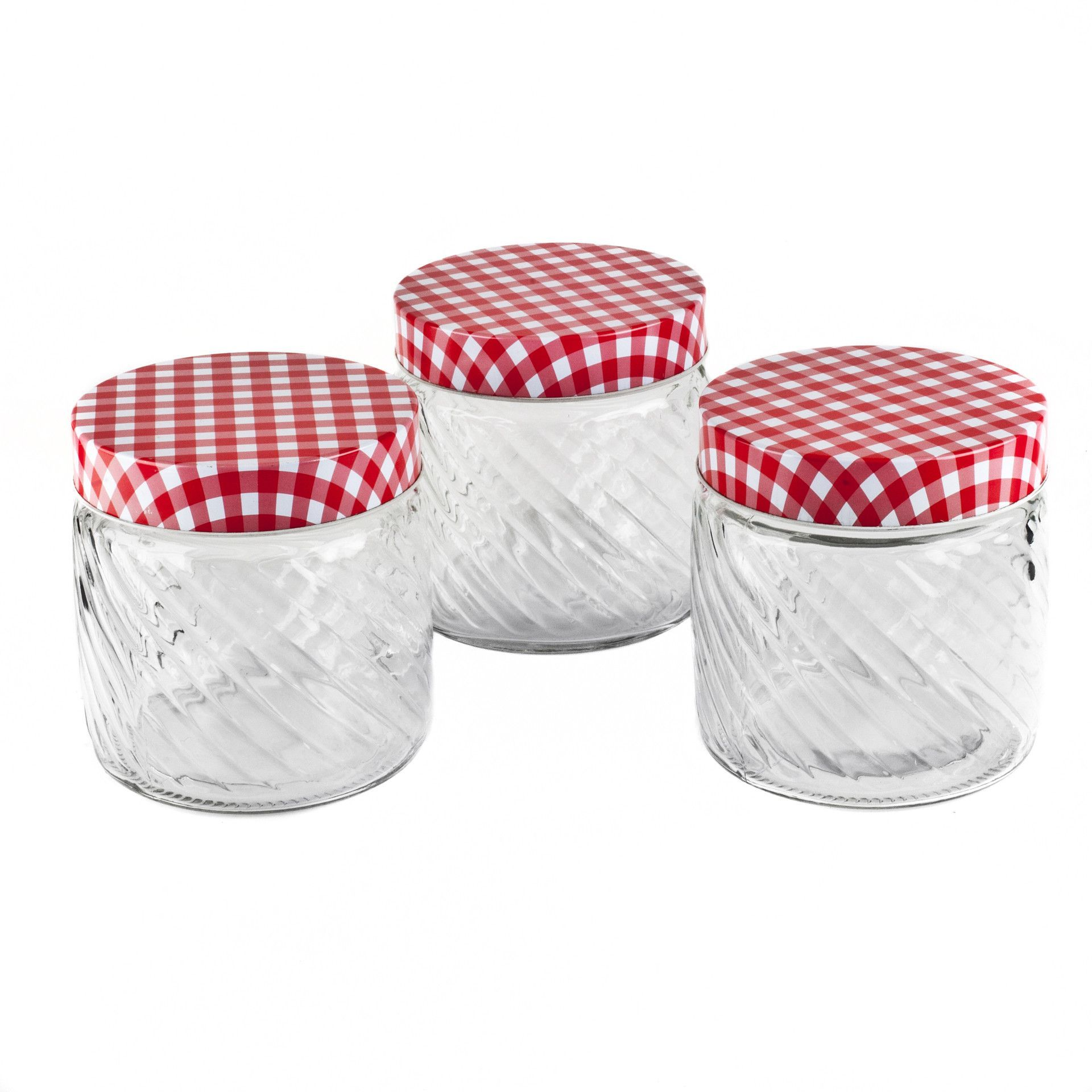 Food Storage Canister Jar Clear Glass With Red Gingham Lid Kitchen