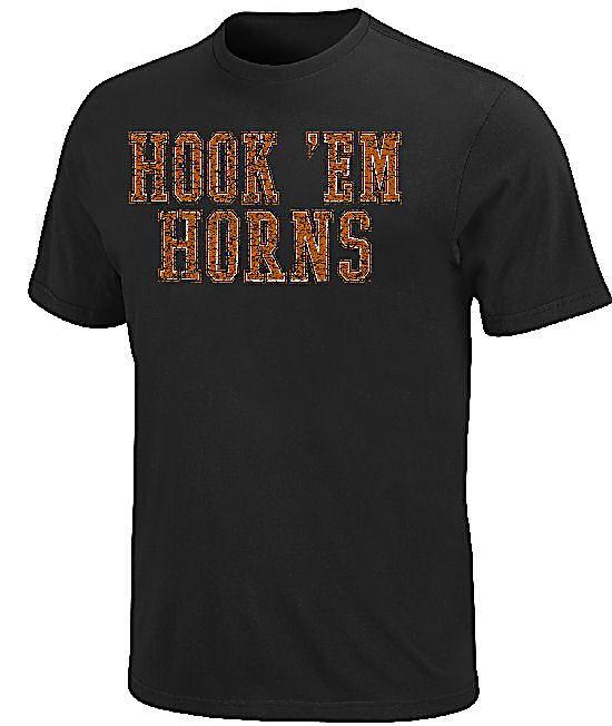 Texas Longhorns Hook 'Em Horns Mens T Shirt by Majestic $24.95