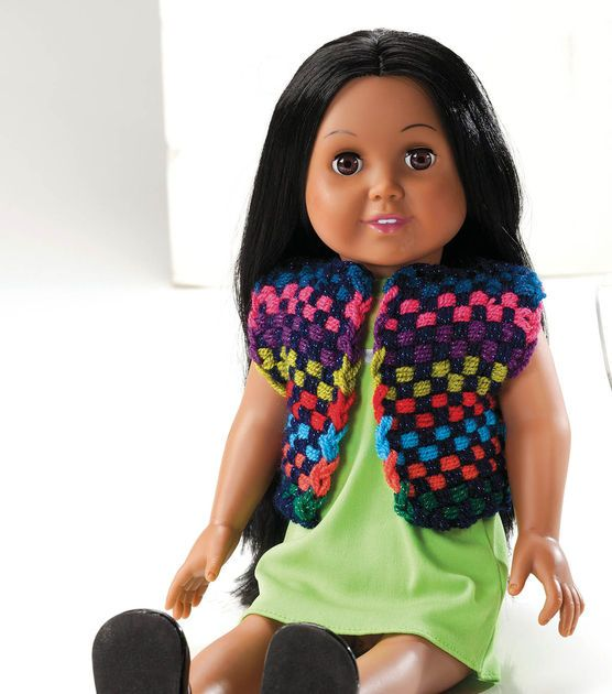 Create this bright doll vest! Also make a matching girl vest here ...