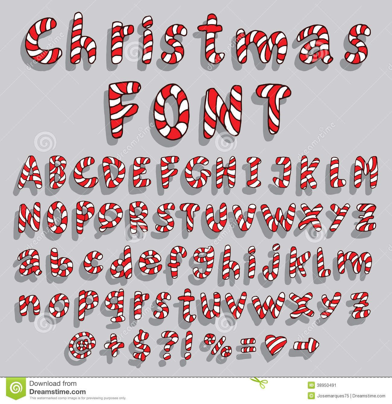 Christmas Candy Cane Alphabet Letters