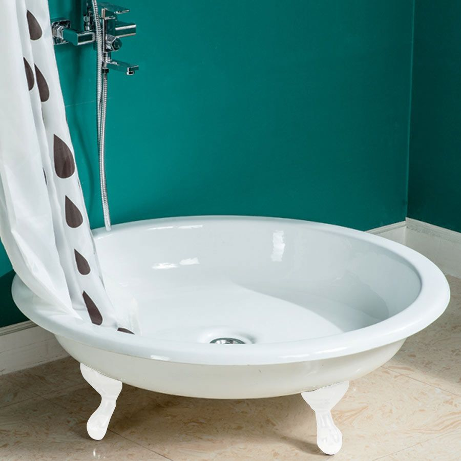 The Traditional 1040mm Round Freestanding Cast Iron Shower Tray with ...