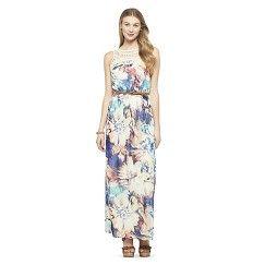 ffa8a882a76b Crochet Trim Maxi Dress Navy Floral M - Lily Star