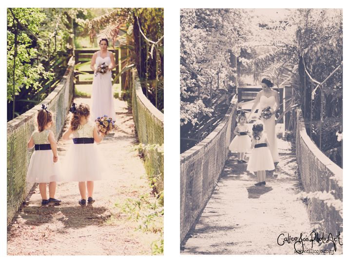 Photos on a bridge  maybe with the flower girls