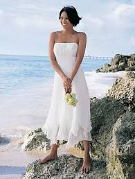 9b67b5ab8b Handkerchief hem beach casual wedding dress with strapless top ...