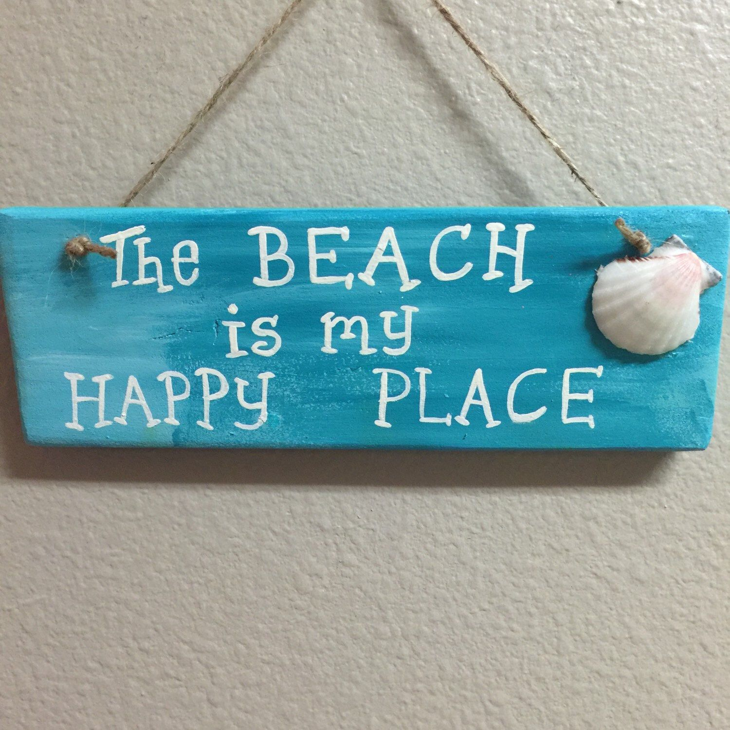 Happy place Wooden beach signs Beach wall decor Beach wood signs ...