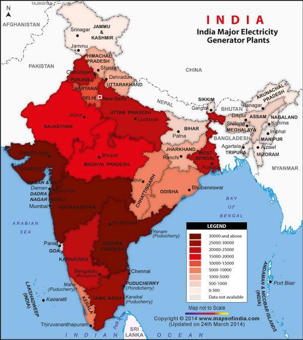 Major electricity generator plants in india india thematic maps major electricity generator plants in india altavistaventures Image collections