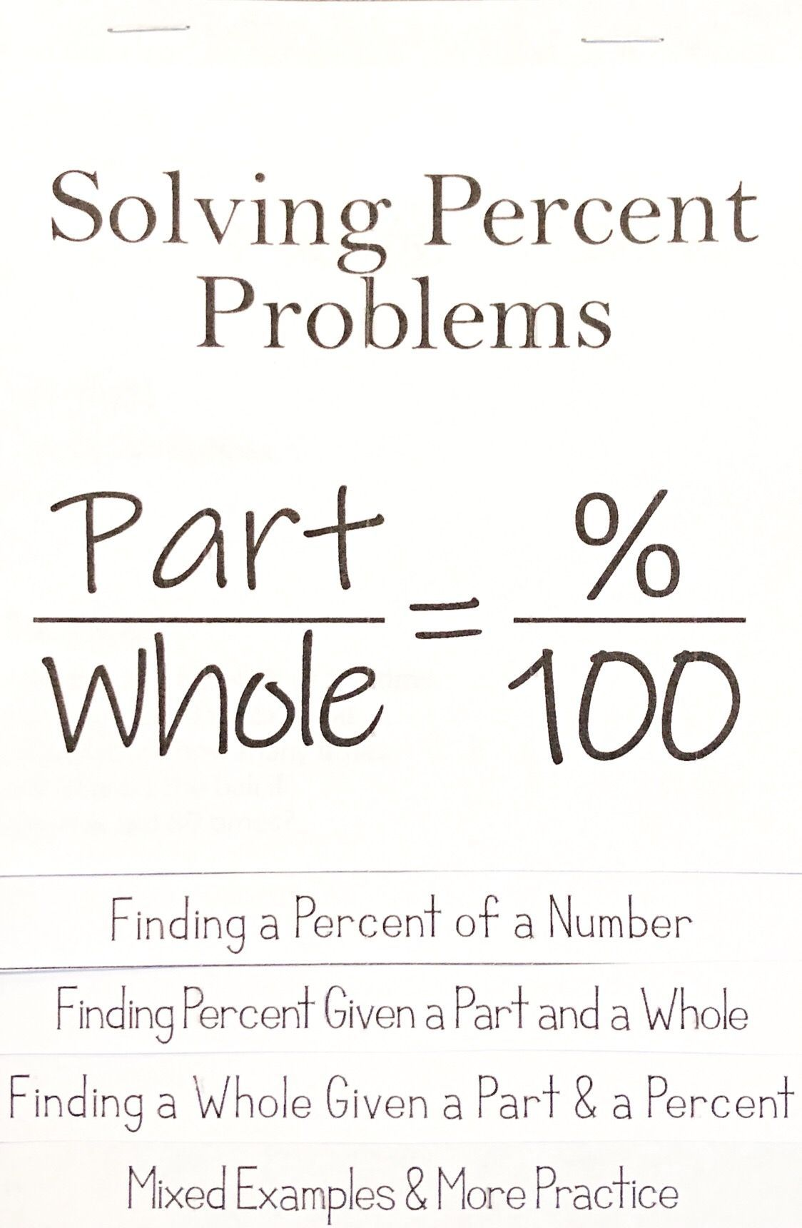 small resolution of Solving Percent Problems Flip Book / Foldable   7th grade math worksheets