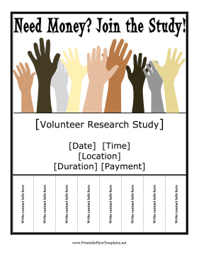 Ask For Student Or Community Volunteers For Research Studies And Experiments With This Printable Flyer Free To Download And Pr Research Studies Flyer Research