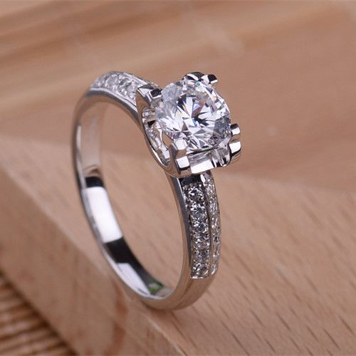 BONZER 18K White Gold Plated With 2ct H G Color Synthetic Diamond For Women Wedding Rings Ladys