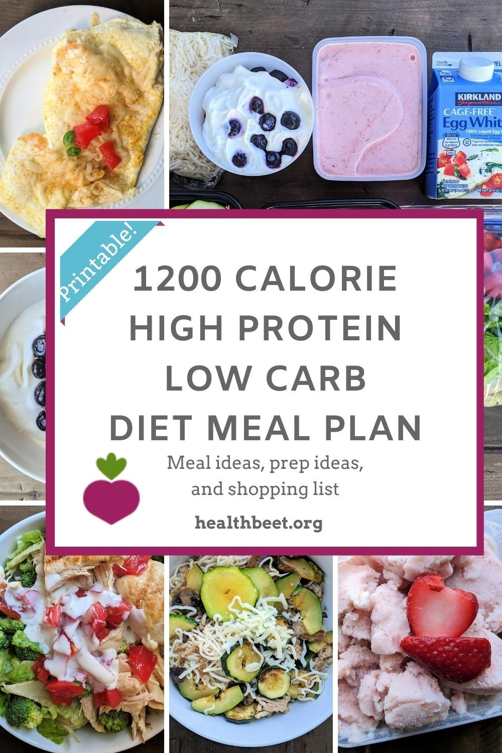 1200 calorie high protein low carb meal plan (with ...