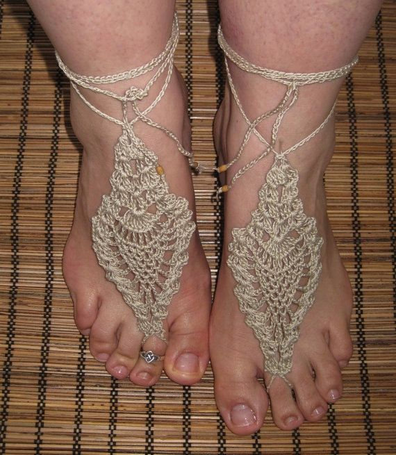 Barefoot Sandals Crochet Tropical Lady by StarryNightsPatterns ...