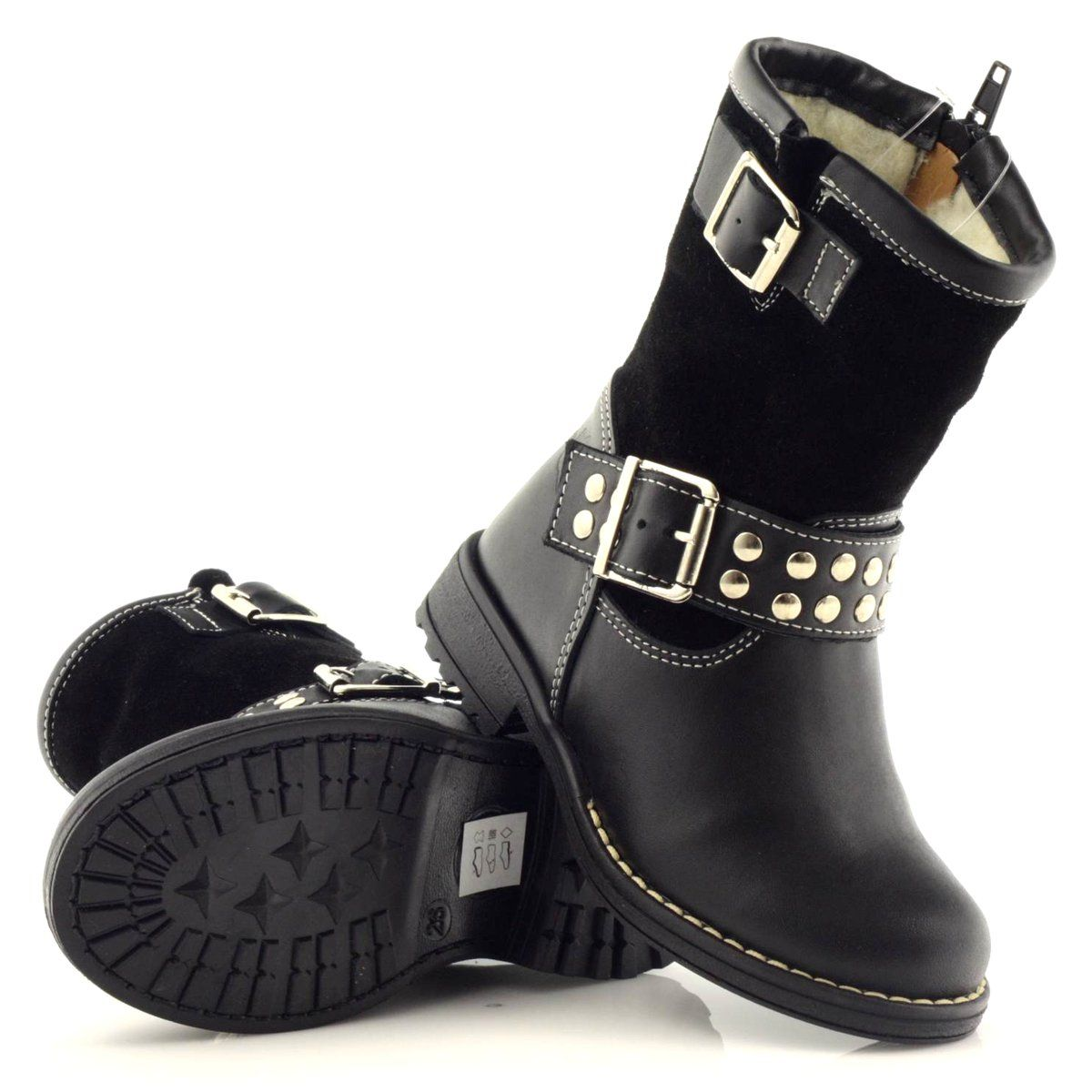 Kozaczki Dziewczece Ren But 3205 Czarne Girls Boots Boots Childrens Boots