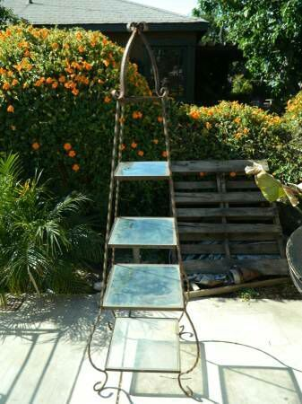 Wrought Iron Glass Shelf Plant Stand Bakers Rack Garden Patio