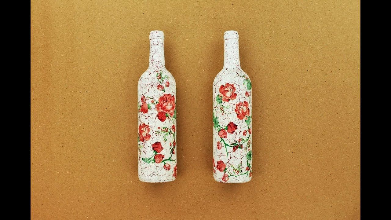 How to make a decoupage bottles with Easy Crackles , Fast