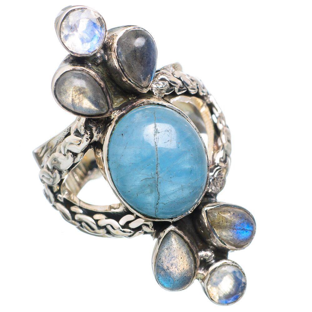 Large Natural Aquamarine, Labradorite, Rainbow Moonstone 925 Sterling Silver Ring Size 6.25 RING720603
