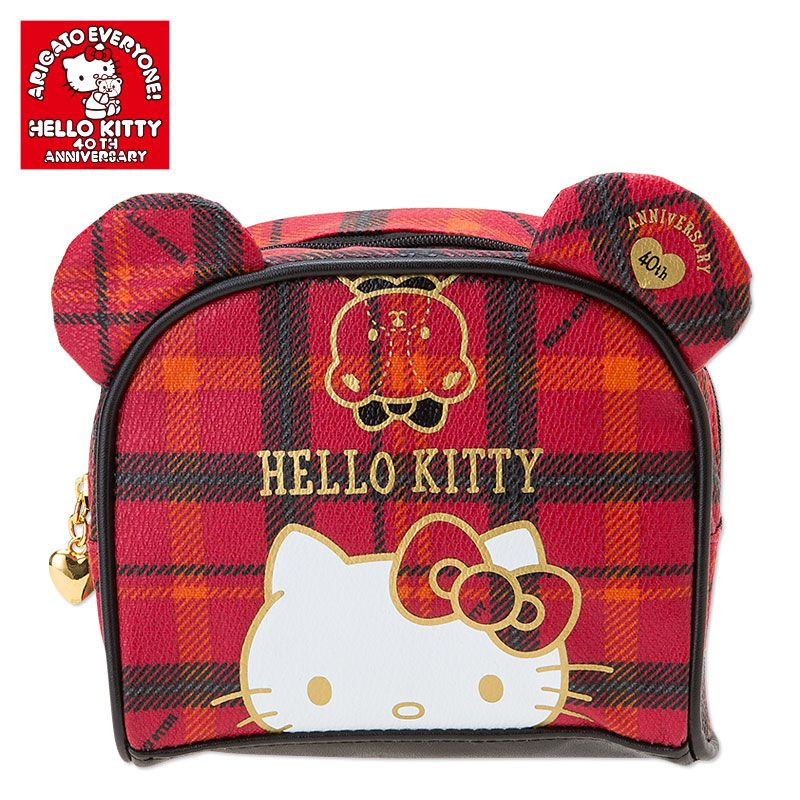 Hello Kitty Cosmetic Bag Pouch 40th Anniversary Checkered Pattern Design SANRIO JAPAN