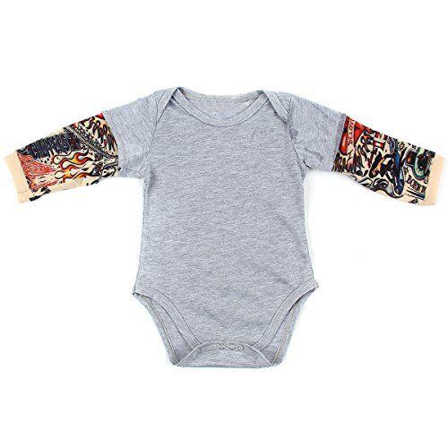 239c4b69e073 Infant Toddler Baby Boy Girl Tattoo Printed Sleeve Romper... https ...