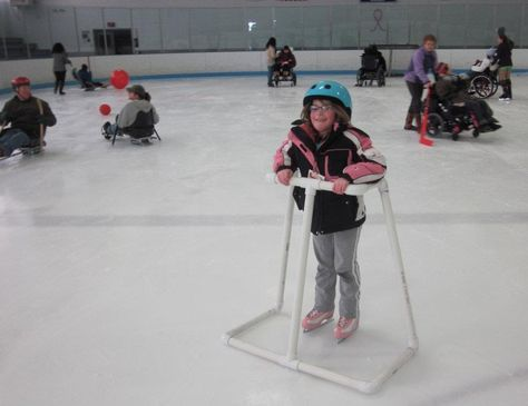 This is designed to help someone ice skate. It take the weight of the legs and gives more support to the upper body. It could be used by students with one leg or other disabilities.