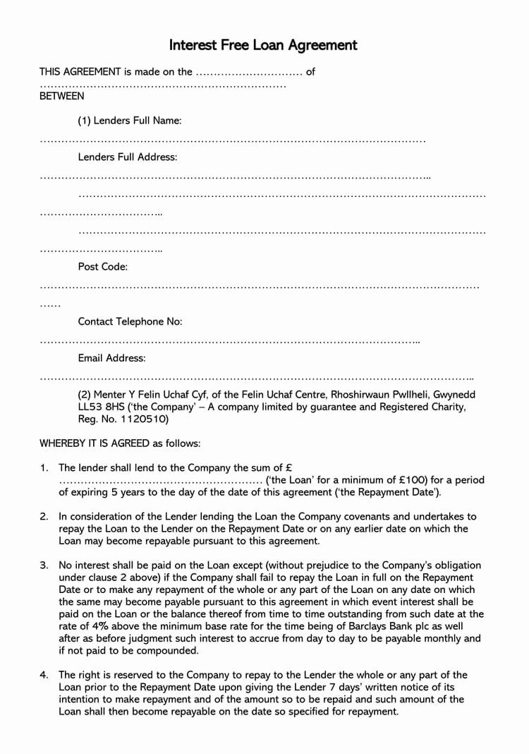 Personal Money Loan Contract Template In 2020 Contract Template