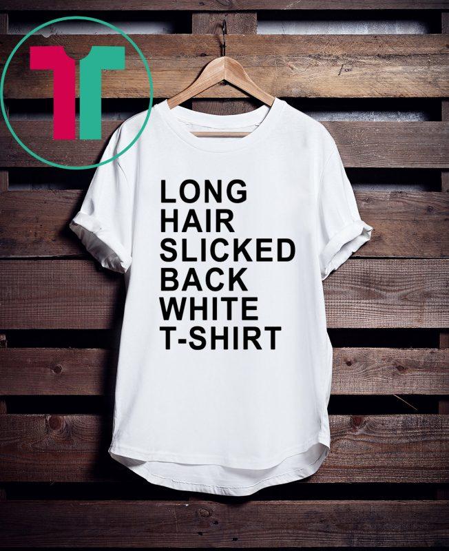 Long Hair Slicked Back White T Shirt Shirtsmango Office Slick Hairstyles Long Hair Styles Shirts