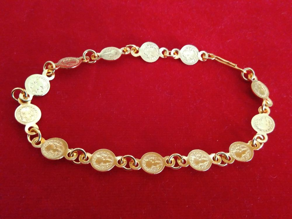 22k gold plated south indian lakshmi coin bracelet for girls and ...