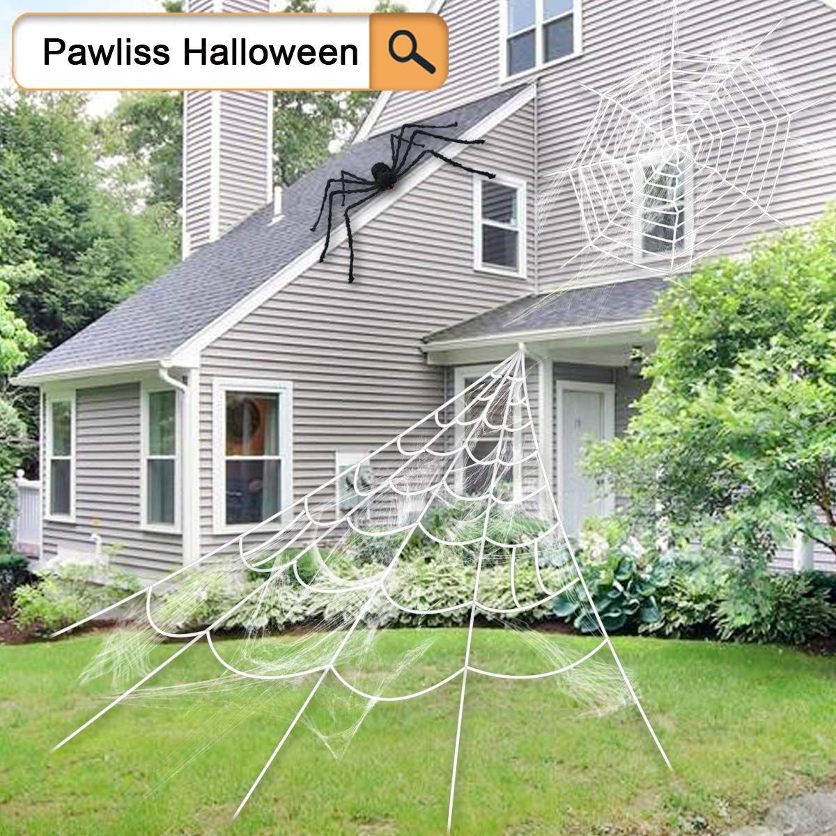 Giant Spider Web with Super Stretch Cobweb Halloween Decor ...