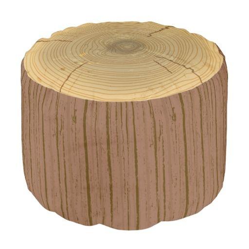 Novelty Woodland Forest Tree Trunk Stump Pouf Trees