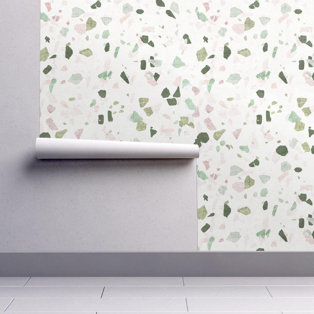 Terrazzo Wallpaper Petra Terrazzo By Holli Zollinger Green Etsy Self Adhesive Wallpaper Peel And Stick Wallpaper Wallpaper Roll