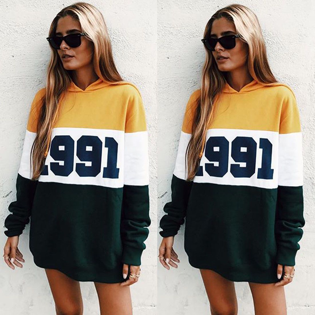 Sexy womens hooded loose fit long sleeve hoodies jumper pullover