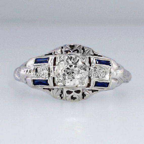 Art Deco Elaborate Old European Cut Diamond & by YourJewelryFinder, $2999.00