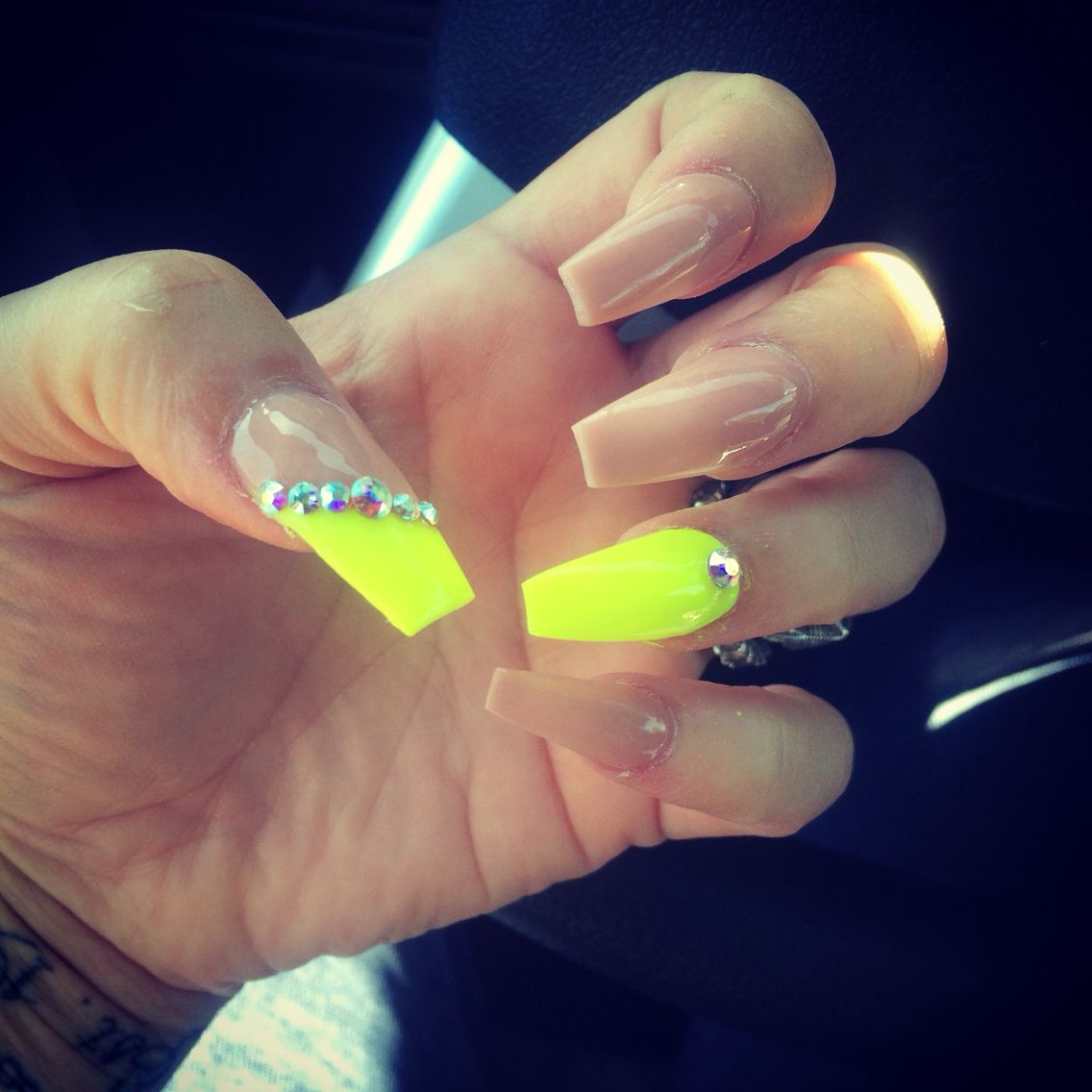 Loving my nails!! Neon yellow n classic nude | Beauty and makeup ...