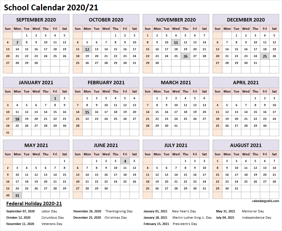 School Calendar For 2021 Printable 2020 2021 school calendar template (United States
